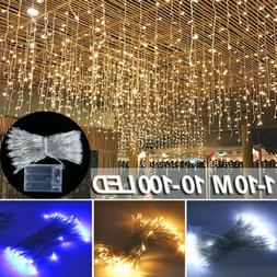 10-100 LED Fairy String Lights In/Outdoor Window Curtain For