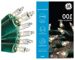 100 clear miniature lights green