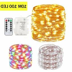 10M 100 LED Battery Operated Fairy String Lights Copper Wire