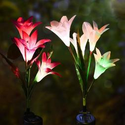 1pcs Artificial Luminous Solar Lily Lawn <font><b>Light</b><