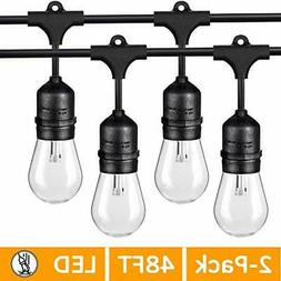 2-Pack 48FT LED Outdoor String Lights for Patio Commercial G