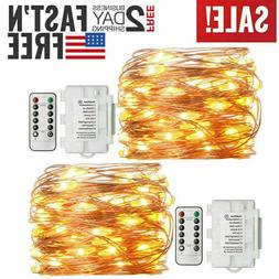 2 Pack Outdoor 50 Led Fairy Lights Battery Operated with Rem