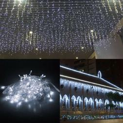20-100FT Connected LED Fairy Icicle Curtain Lights Hanging S