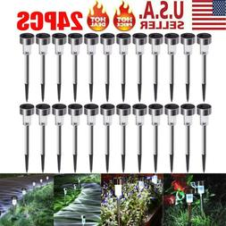 24 PCS Garden Outdoor Stainless Steel LED Solar Landscape Pa