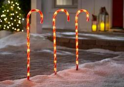 "3-Pack Outdoor 27"" Christmas Pathway Lights Lighted Candy Ca"