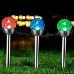 3 Pcs Outdoor Color Changing Decorative Ball Solar Lights fo
