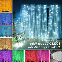 300LED String Fairy Lights Indoor/Outdoor Garden Curtain Chr