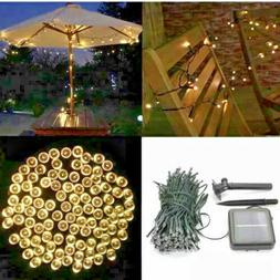 39ft 100 LED Solar Powered Outdoor String Lights Bright Whit