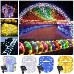 39FT 100 LEDs Solar Waterproof Outdoor LED Rope Tube Fairy L