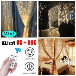 3M 300LED String Fairy Wedding Curtain Lights USB Home Outdo