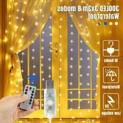3x3M 300LED Window Curtain Icicle String Fairy Light Outdoor