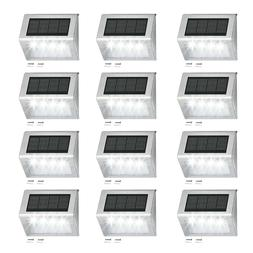 4 LED Solar Powered Step Fence Post Lights for Outdoor Garde
