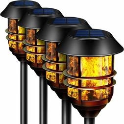 """4 Pack Metal Solar Tiki Torches Lights Flickering Flame 55"""""""