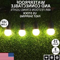 48ft Heavy-Duty Cable Patio LED Globe String Light Indoor Ou