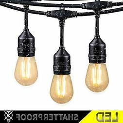 48Ft LED Outdoor String Lights with 15 Dimmable S14 Edison b