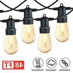 48FT Outdoor String Lights Edison Vintage Bulbs Commercial W