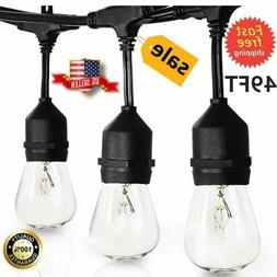 49 FT Outdoor String Lights Patio Garden Yard Waterproof Com