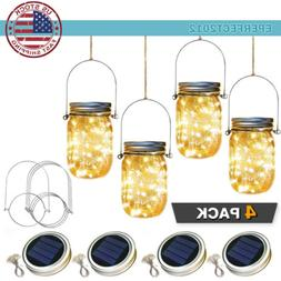 4Pcs Solar Mason Jar Lid Light 20LED Fairy String Light Gard