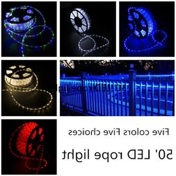 50FT LED Rope Light strip Outdoor Home Party Decor Xmas 110V