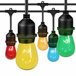 48ft Color Outdoor String Lights w/ Colorful Edison Vintage