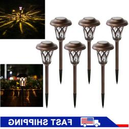 6Pcs Bright Solar Powered Pathway LED Lights Outdoor Garden