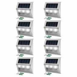 JACKYLED 8-Pack Solar Step Lights Stainless Steel 3 LED Weat