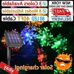 80 LED Solar String Fairy Lights Copper Waterproof Home Outd