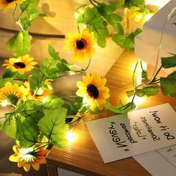 Artificial Sunflower Led String Light Battery Wedding Party