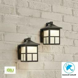 Hampton Bay Black Outdoor Integrated LED Wall Mount Lantern