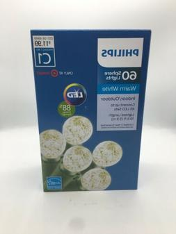 New Philips 60 ct LED Faceted Sphere String Lights Warm Whit
