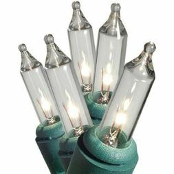 GE 50 Mini String Lights Clear White Christmas Green Wire In