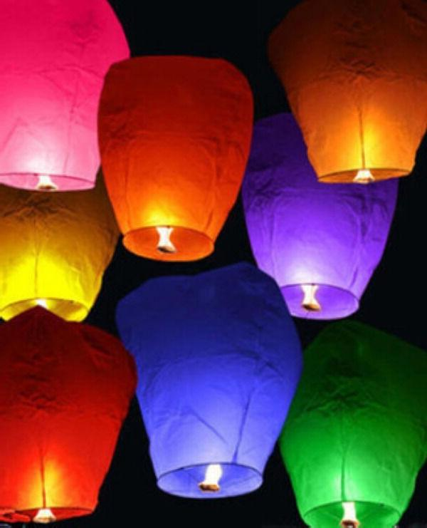 10pcs Fly Lanterns Chinese Paper Candle Flying Fire
