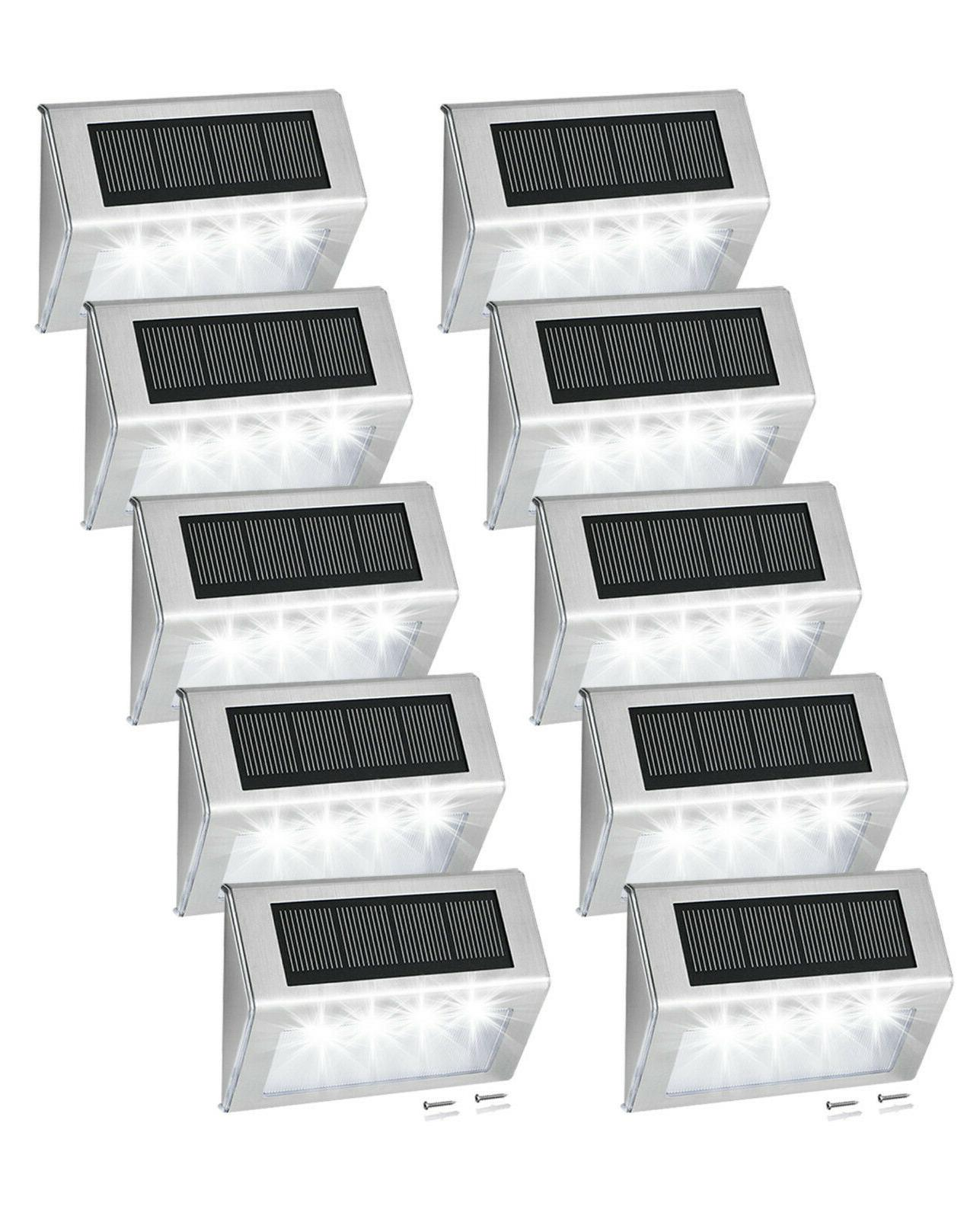4 LED Powered Step Fence Post Lights for Outdoor Stair