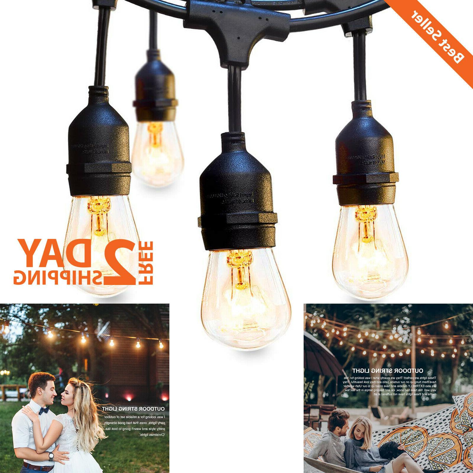48ft Outdoor String Lights Commercial Weatherproof Strand Di