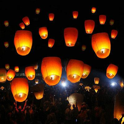 50PCS Chinese Lanterns Fire Fly Candle Lamp Wish Party