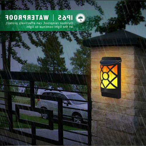 Colorful LED Solar Powered Night Flame Lights Flickering Wal