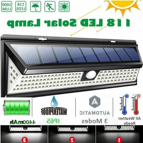 Waterproof 118 LED Solar Power Lamp Outdoor Garden PIR Motio