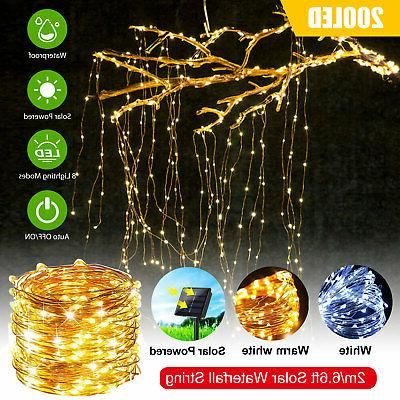 outdoor led solar lights waterfall string fairy