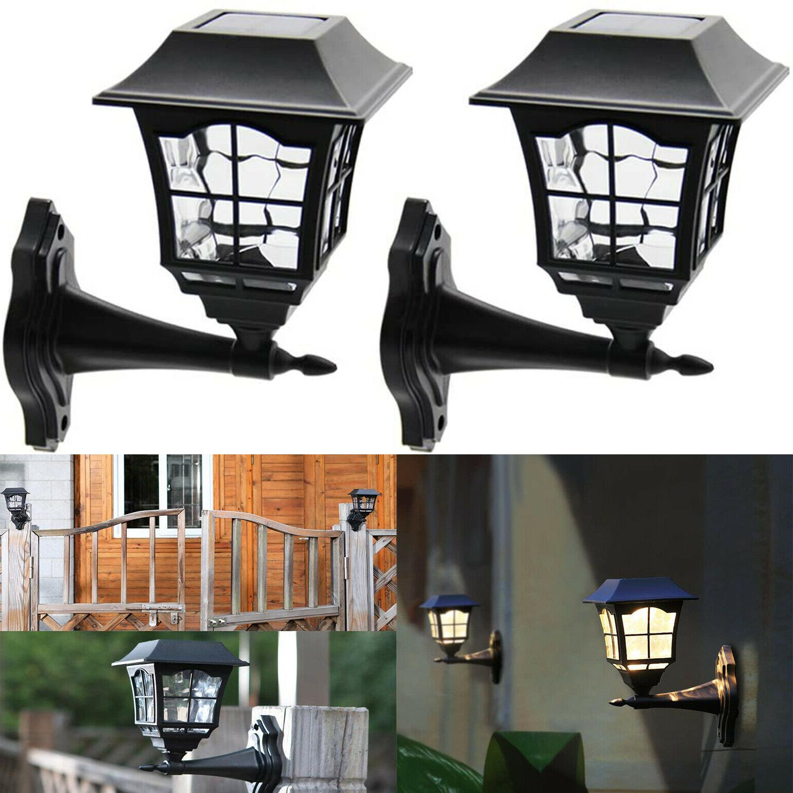 Outdoor Solar Wall Lantern Sconce LED Light 2 Pack Fixture 1