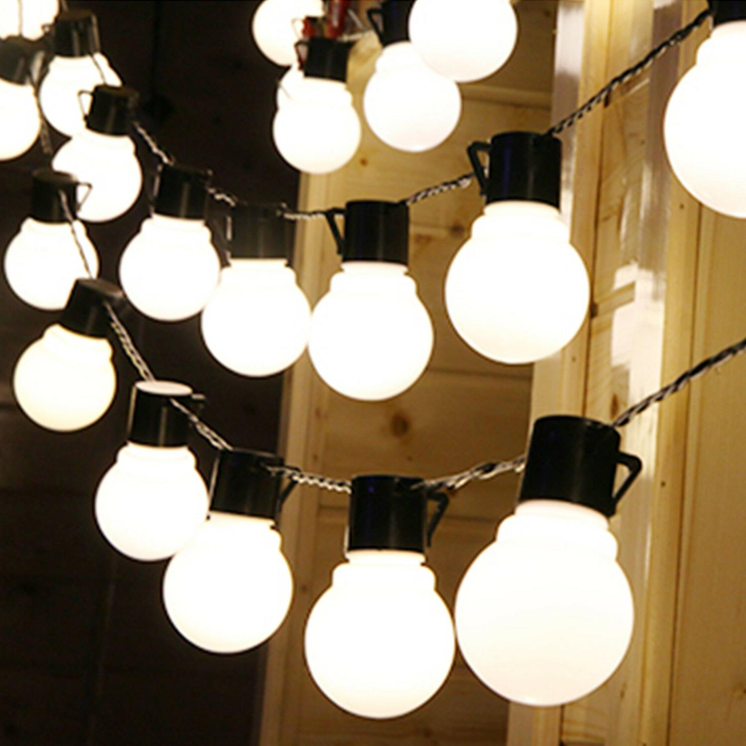 LED Solar String Ball Lights Outdoor Waterproof Warm White G