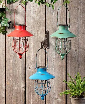 rustic distressed finish hanging solar led lighted