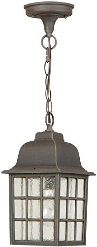 Craftmade Z271-07 Hanging Lantern with Seeded Glass Shades,