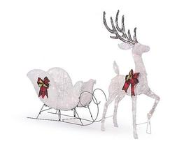 Lighted White Reindeer & Sleigh Sculpture Outdoor Christmas