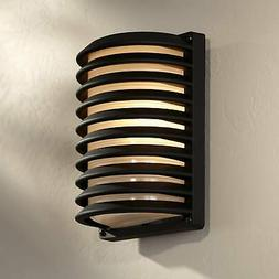 """Modern Outdoor Wall Light Fixture Black Banded Grid 10"""" for"""