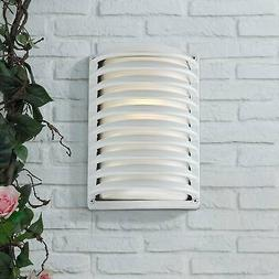 """Modern Outdoor Wall Light Fixture White Banded Grid 10"""" for"""