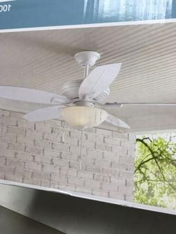 Hampton Bay North Pond 52 in. LED Outdoor Matte White Ceilin
