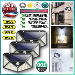 Outdoor 100 LED Solar Wall Lights Security Motion Garden Yar