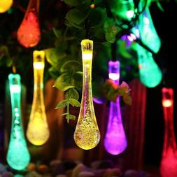 Outdoor 30 LED String Lights Waterproof Solar Water Drop Fai