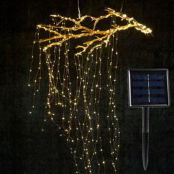 Solar Copper Led String Lights Outdoor Waterfall Fairy Icicl