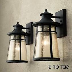 "Outdoor Wall Light Fixtures Set of 2 Cast Iron Black 15"" for"